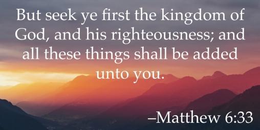 But seek ye first